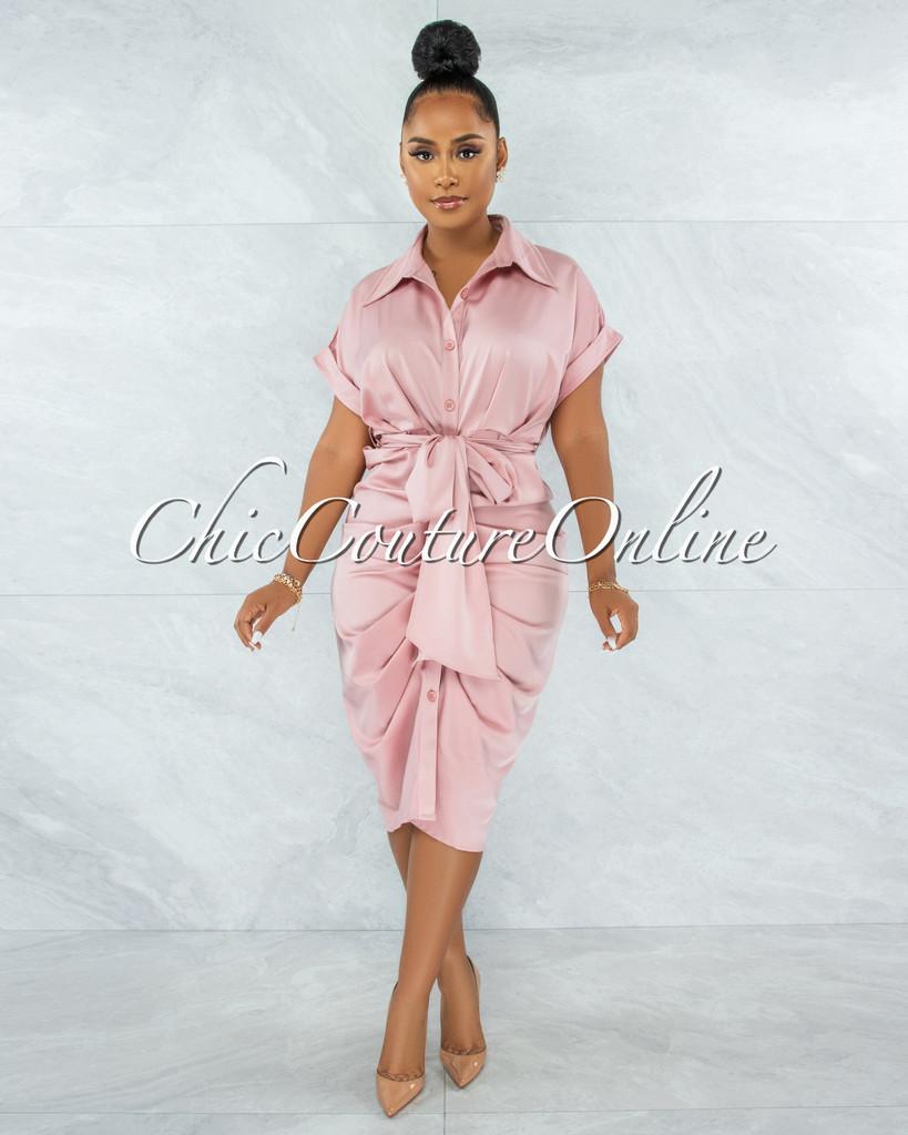Valley Dusty Pink Drape Self-Tie Belt Shirt Midi Dress