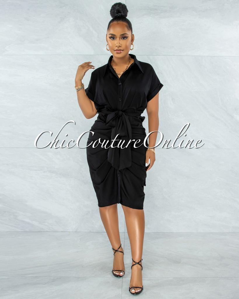 Valley Black Drape Self-Tie Belt Shirt Midi Dress