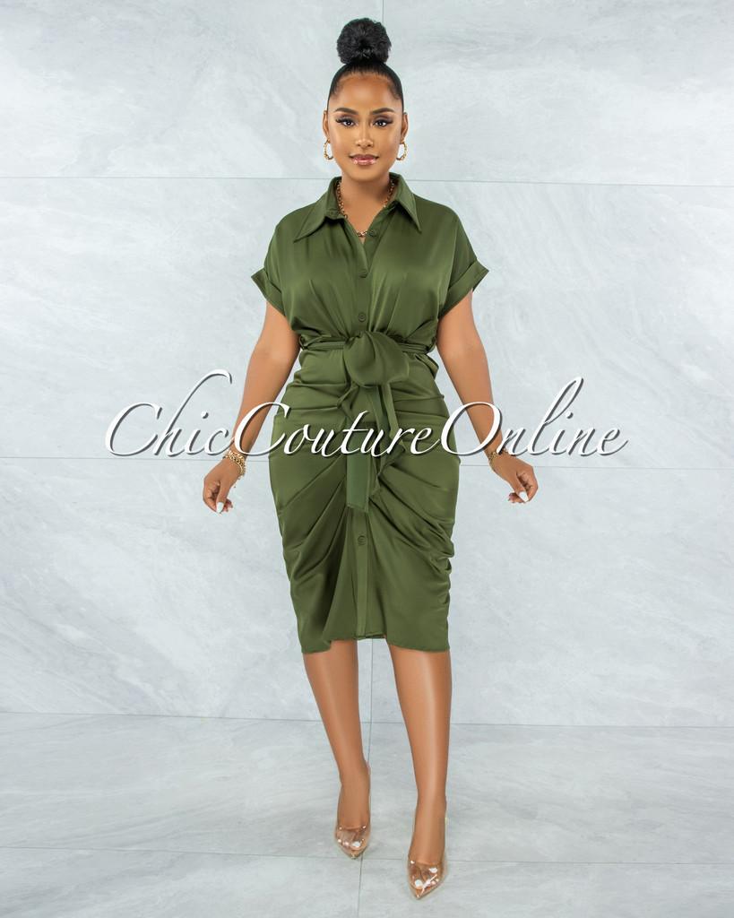 Valley Olive Green Drape Self-Tie Belt Shirt Midi Dress