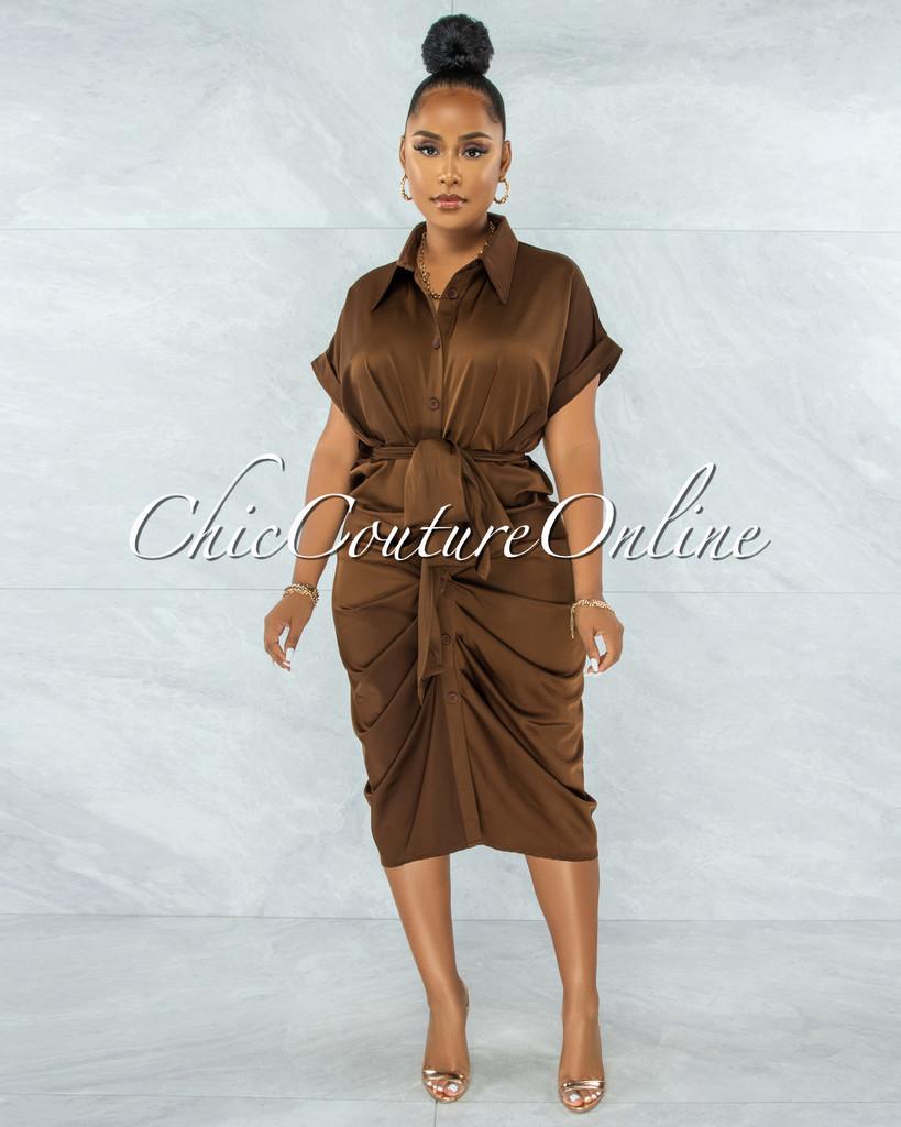 Valley Brown Drape Self-Tie Belt Shirt Midi Dress