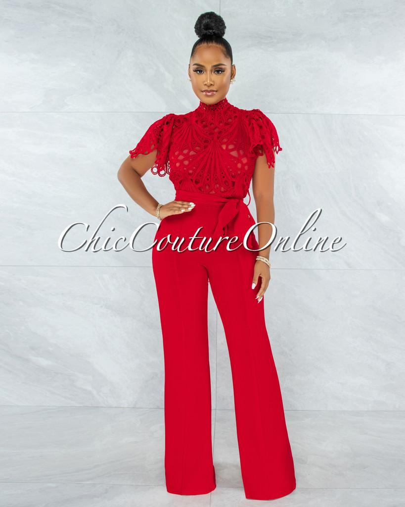 Charity Red Crochet See-Thru Top Ruffle Sleeves Jumpsuit