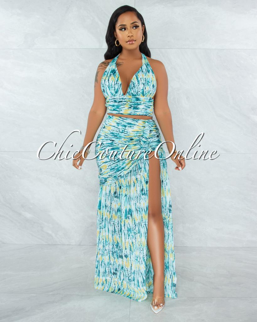 Femise Aqua Print Halter Top & Maxi Drape Skirt Set