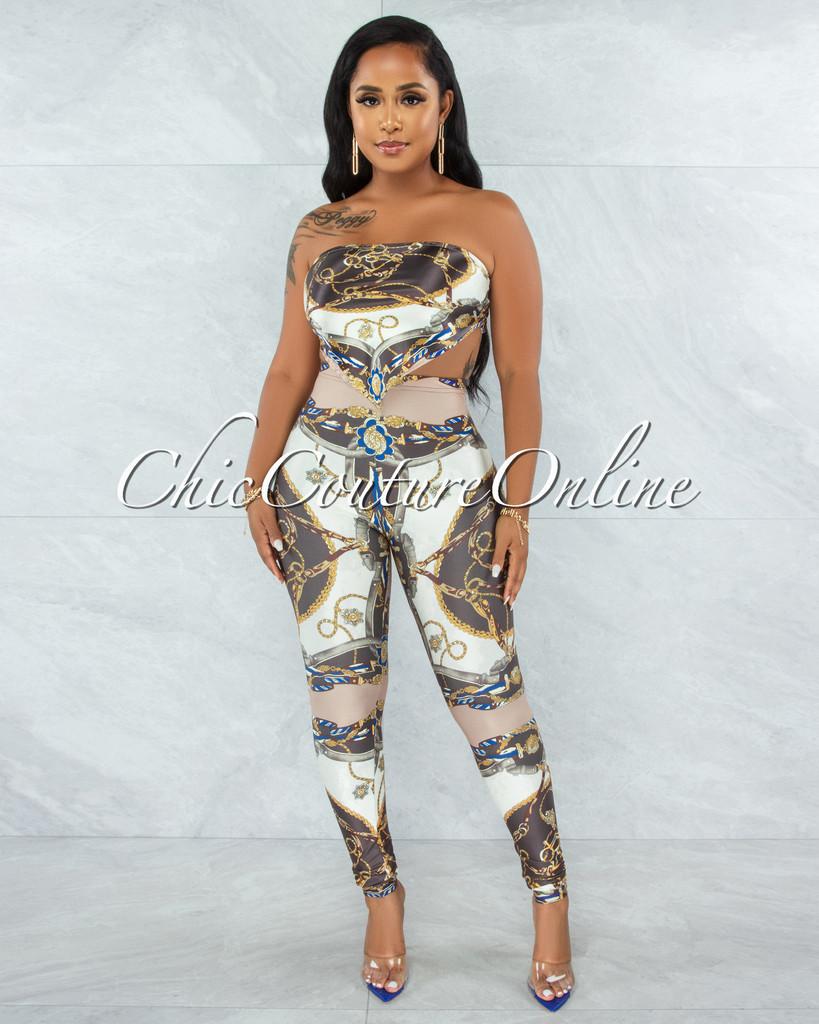 Hanya Brown Nude Print Scarf Satin Top & Leggings Set