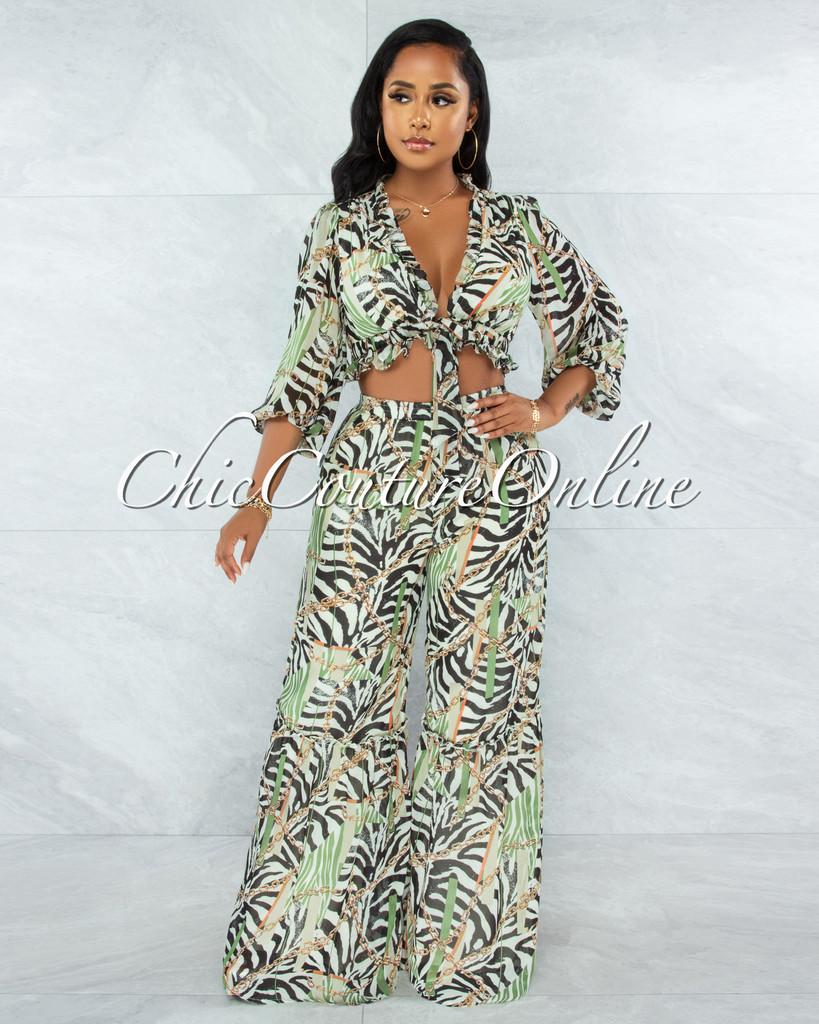 Myrna Olive Multi-Color Zebra Print Ruffle Top & Pants Set