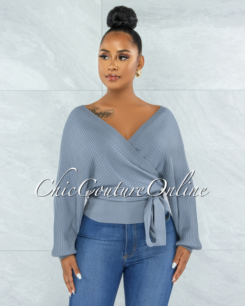 Paulina Steel Blue Ribbed Knit Wrap Top