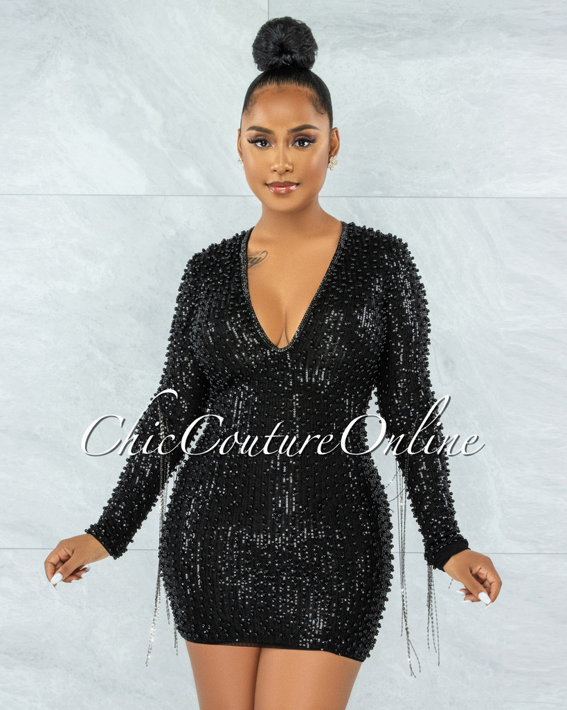 Glory Black Sequin Pearls Chain Sleeves Fringe Mini Dress