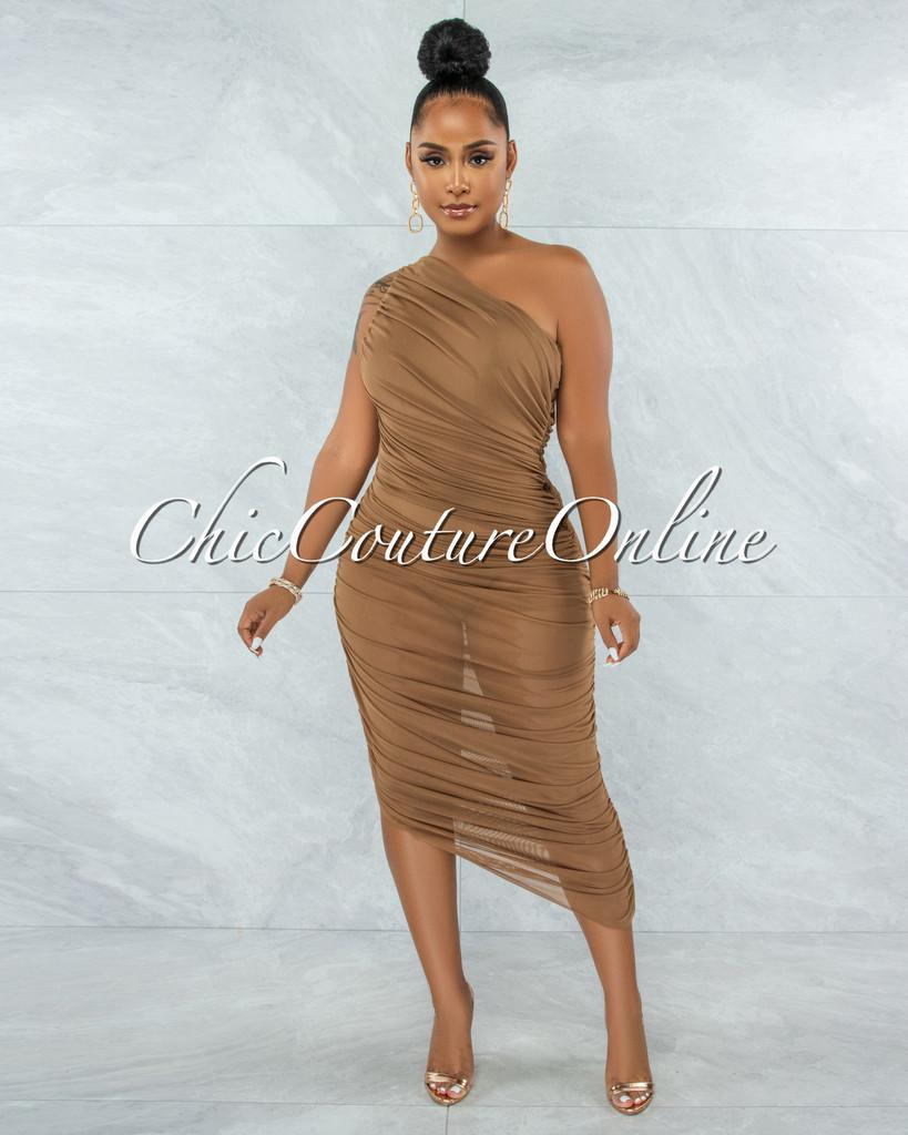 Prosa Mocha Mesh Ruched Single Shoulder Maxi Dress