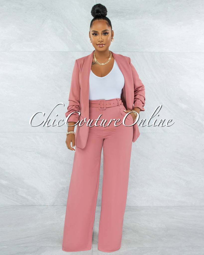 Cathy Salmon Double Trench Blazer & Belted Pants Set