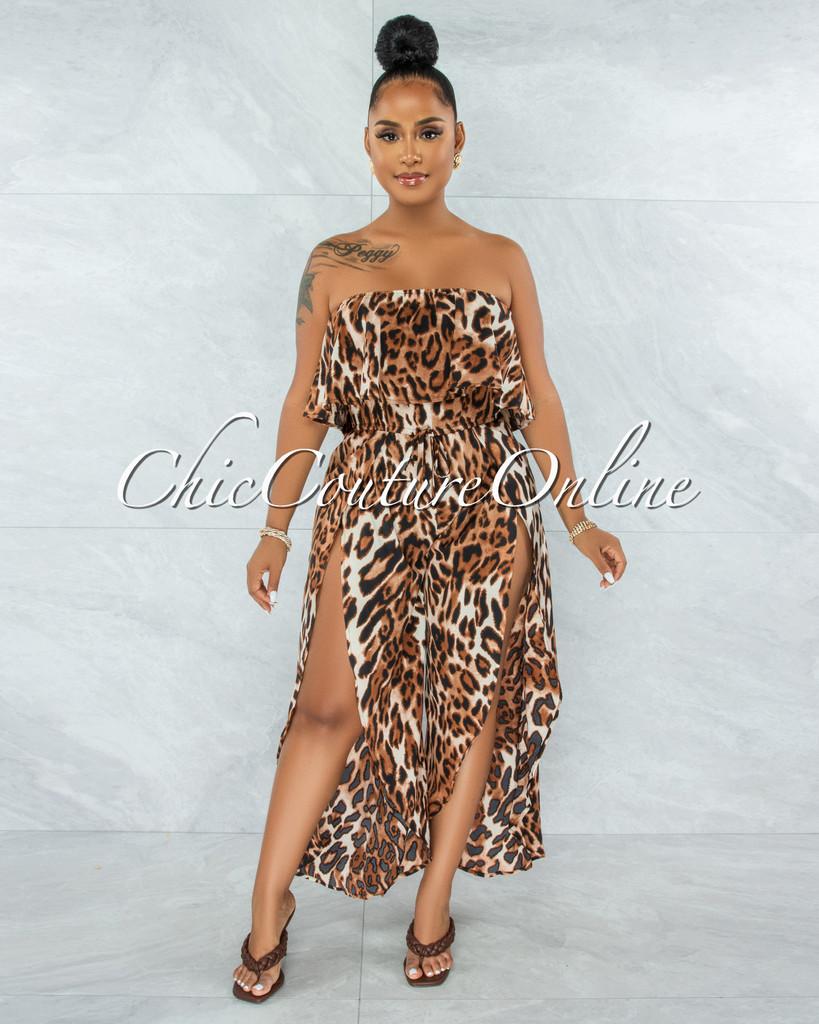 Zemalla Leopard Print Ruffle Strapless Slits Jumpsuit