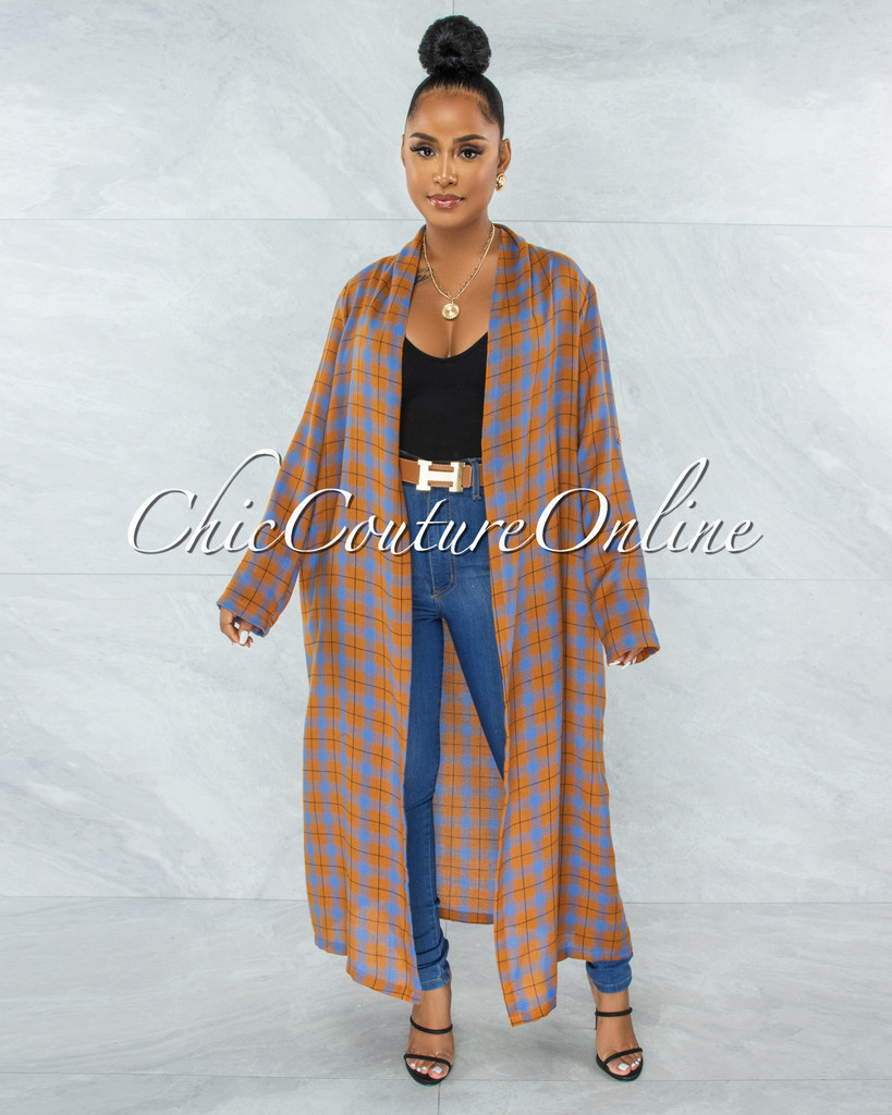 Adoro Camel Blue Plaid Print Open Front Duster
