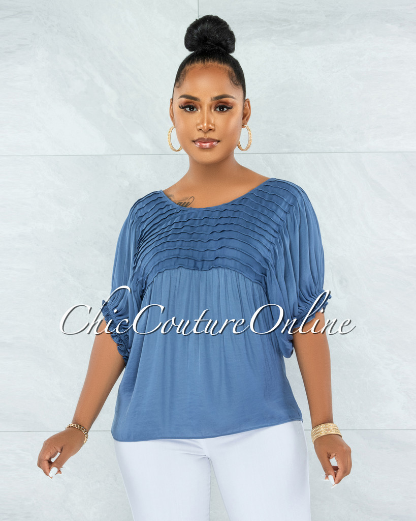 Hollis Steel Blue Pleated Accent Shift Blouse