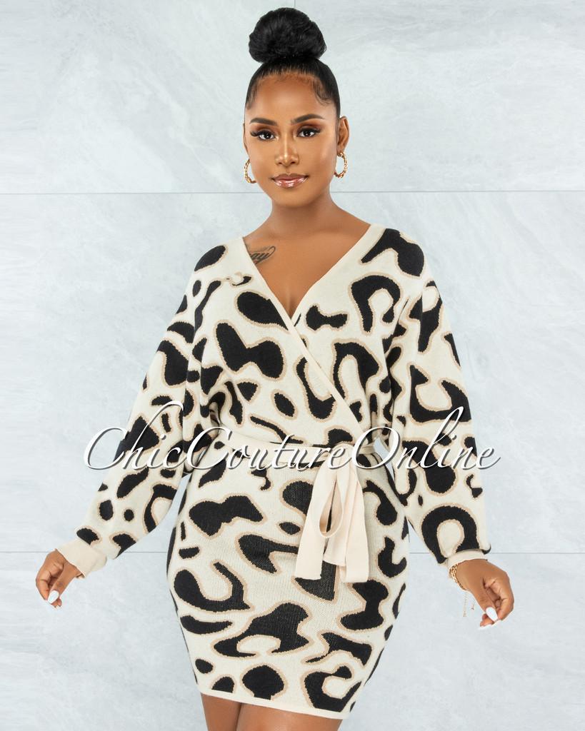 Nadirah Nude Leopard Print Wrap Knit Sweater Dress