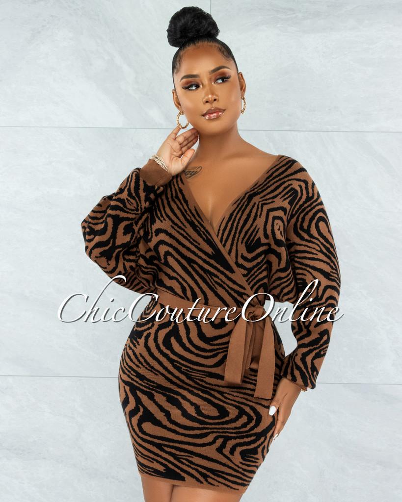 Baram Brown Black Zebra Print Wrap Knit Sweater Dress