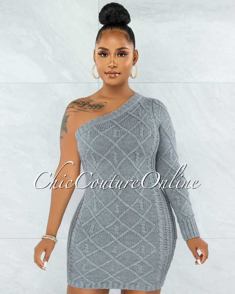 Ewing Grey Cable Knit Single Shoulder Dress