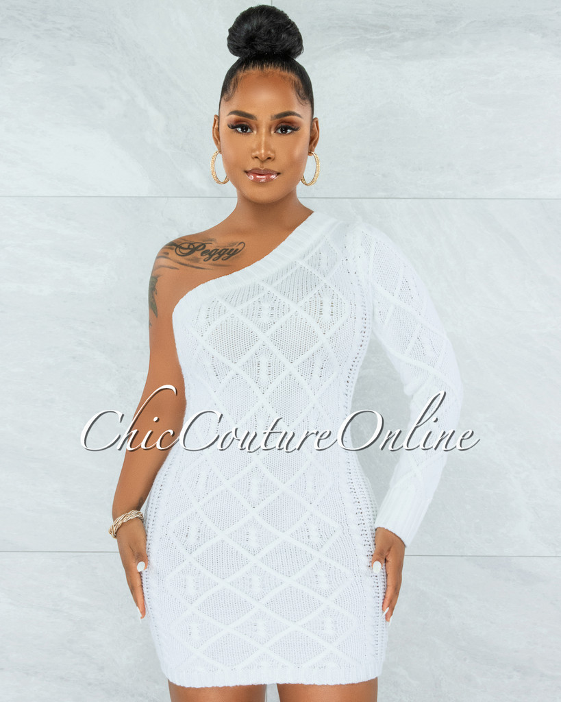 Ewing Off-White Cable Knit Single Shoulder Dress