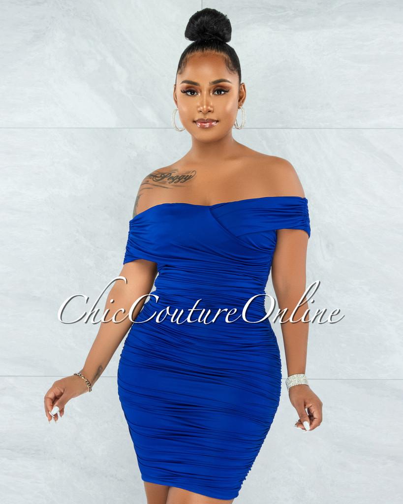 Taraneh Royal Blue Draped Crossed Neckline Midi Dress