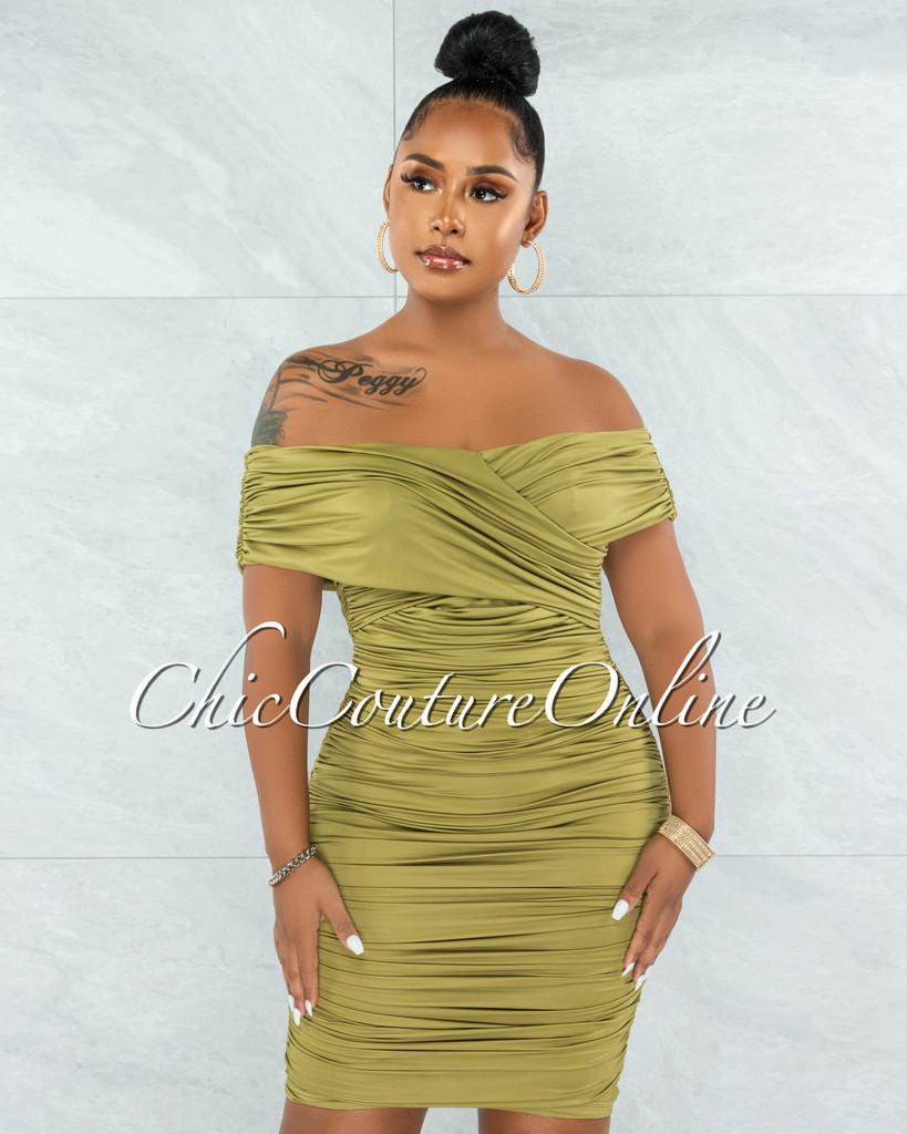 Taraneh Olive Green Draped Crossed Neckline Midi Dress