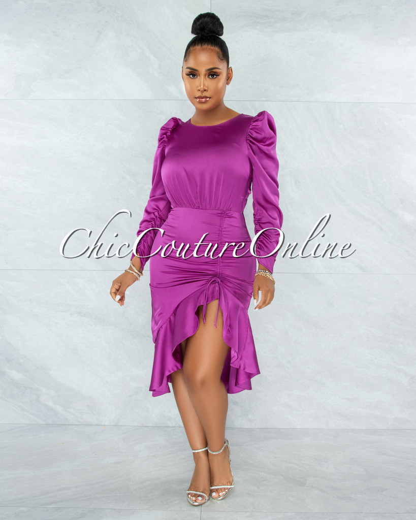 Jaron Purple Ruched Ruffle Hem Satin Midi Dress