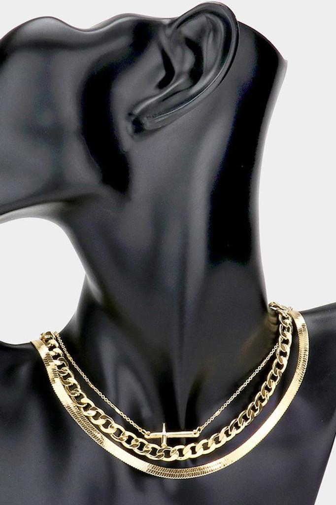 Deena Gold Cross Pendant Triple Necklace