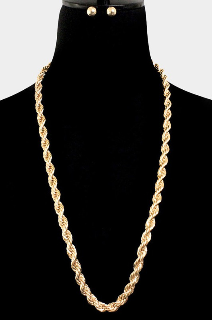 Cynthia Gold Metal Chain Long Necklace
