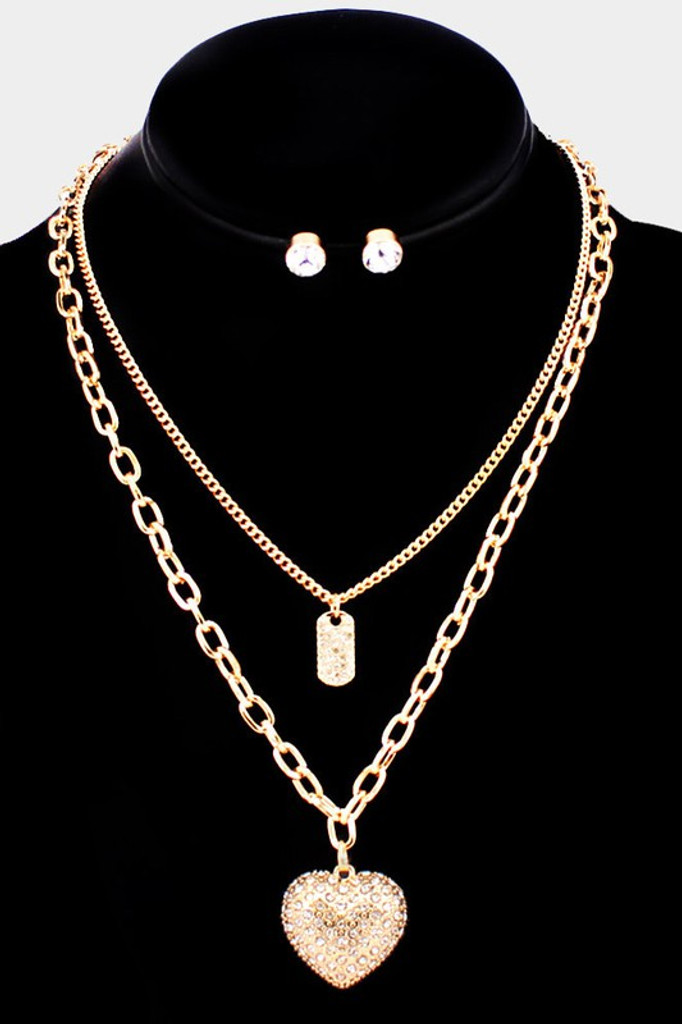 Carrie Gold Rhinestone Heart Pendant Necklace