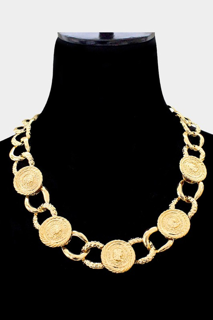 Charra Gold Metal Coin Link Necklace