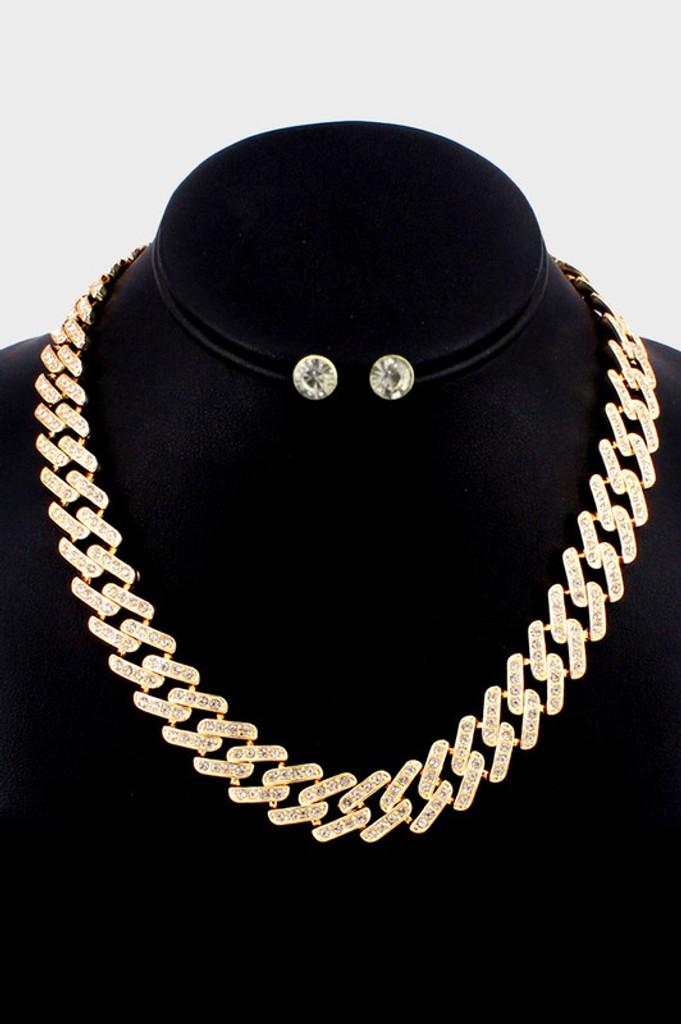 Nikki Gold Rhinestone Embellished Metal Link Necklace