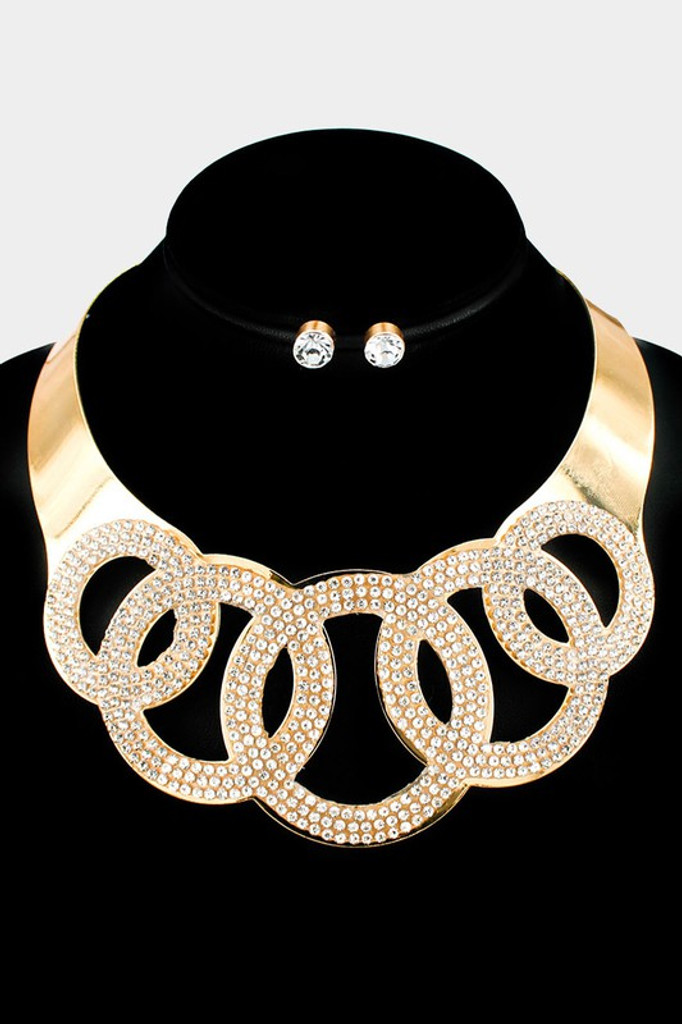 Olivia Gold Open Circle Statement Necklace