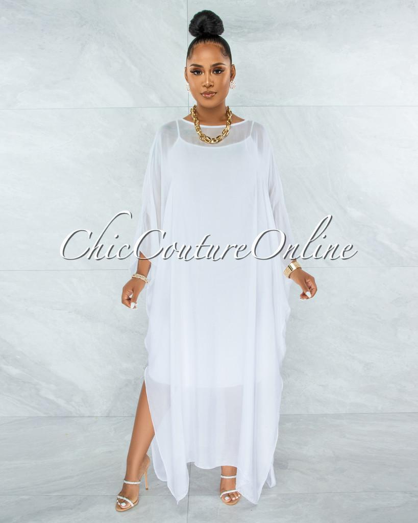 Finian Off-White Sheer Cover-Up w Tank Maxi Dress