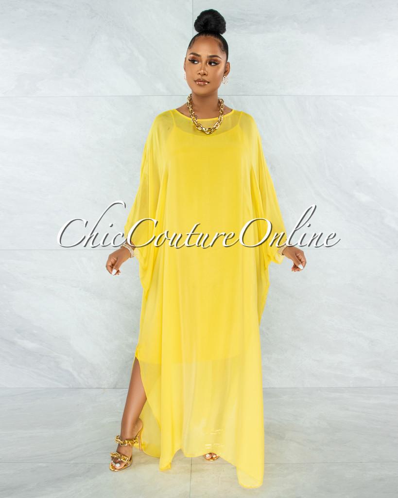 Finian Yellow Sheer Cover-Up w Tank Maxi Dress