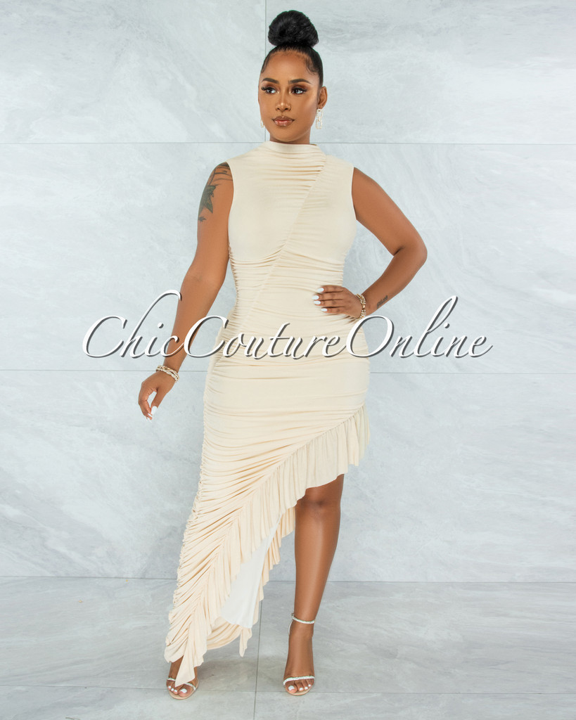 United Cream Ruched Bodice Ruffle Slit Maxi Dress