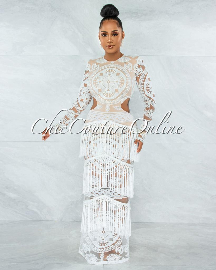 Nissan Off-White Nude Illusion Crochet Fringe Maxi Dress