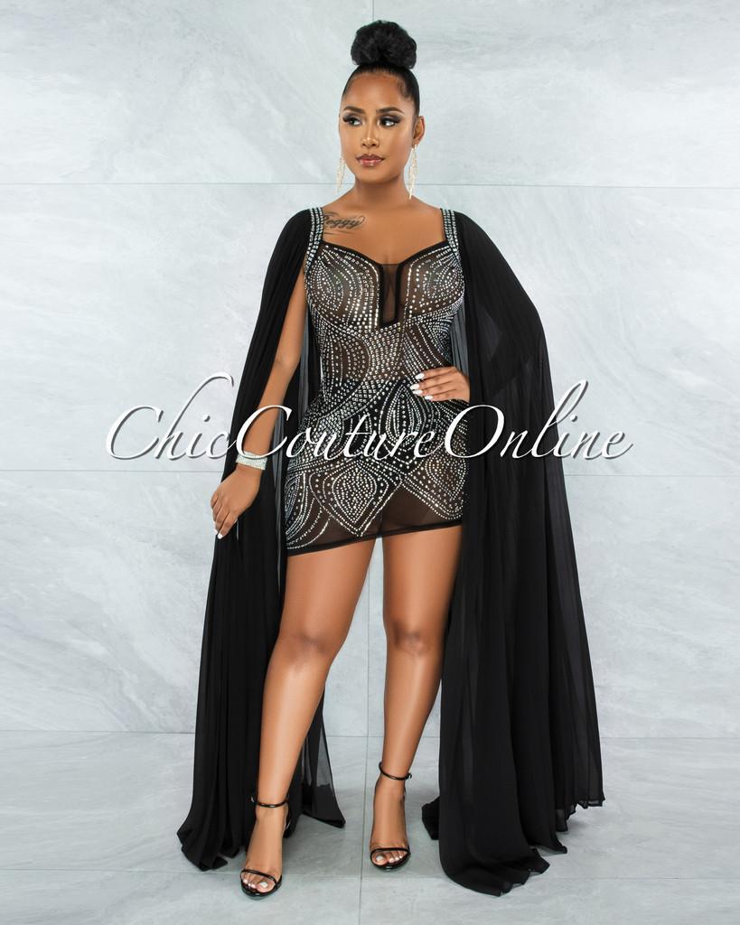 Moronta Black Rhinestones Mesh Long Pleated Sleeves Dress
