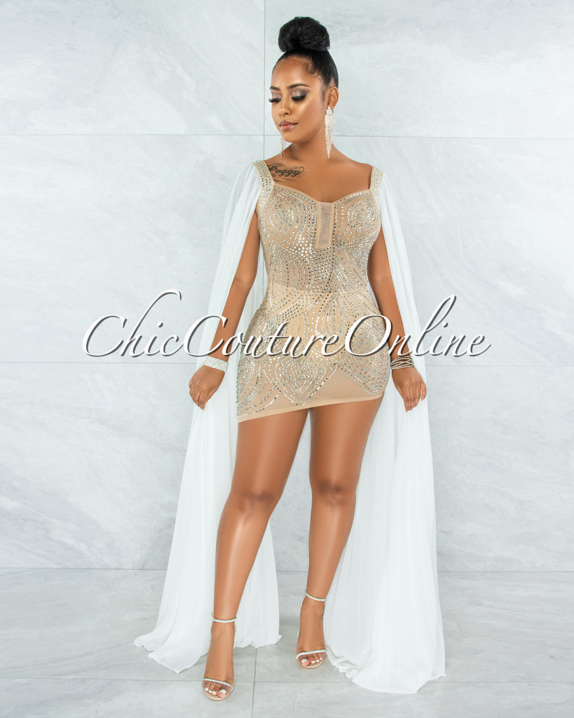 Moronta Nude Rhinestones White Mesh Long Pleated Sleeves Dress