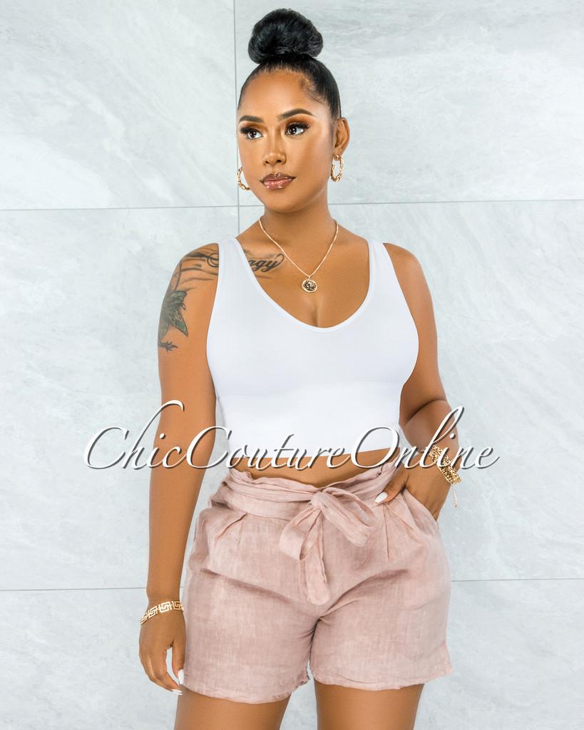 Delgado Blush Paper-Bag LINEN Shorts