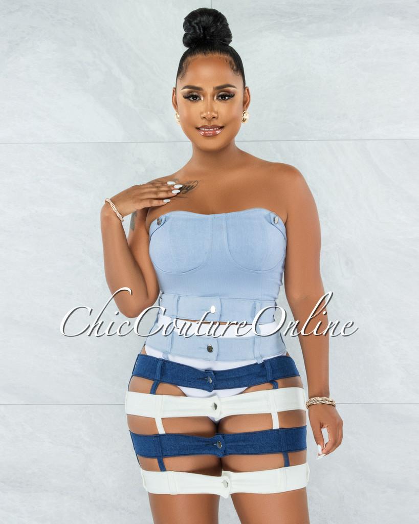 Odanda Blue White Crop Top & Denim Waistbands Skirt Set