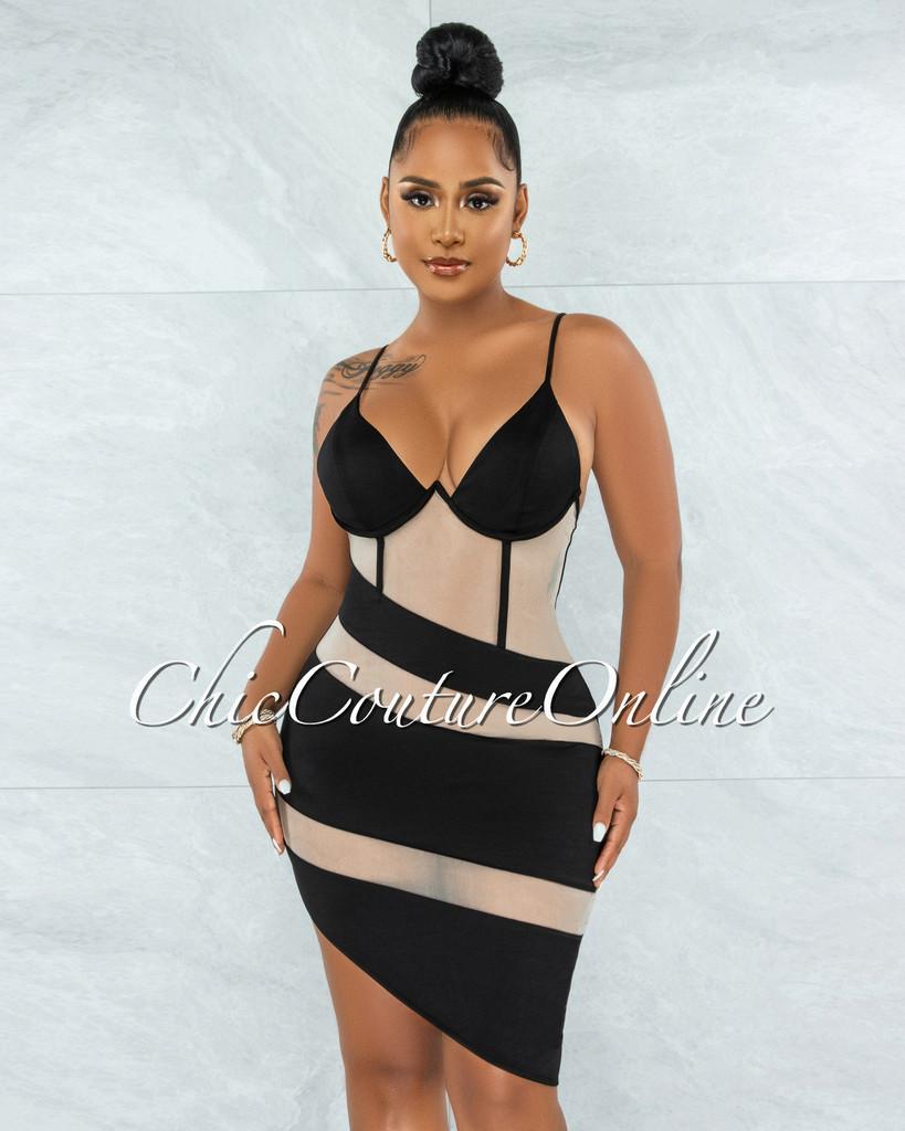 Moriah Black Nude Mesh Accent Asymmetrical Hem Dress