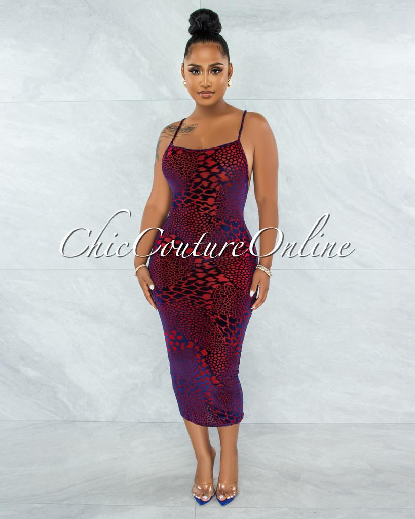 Britt Blue Red Velvet Print Sheer Midi Dress