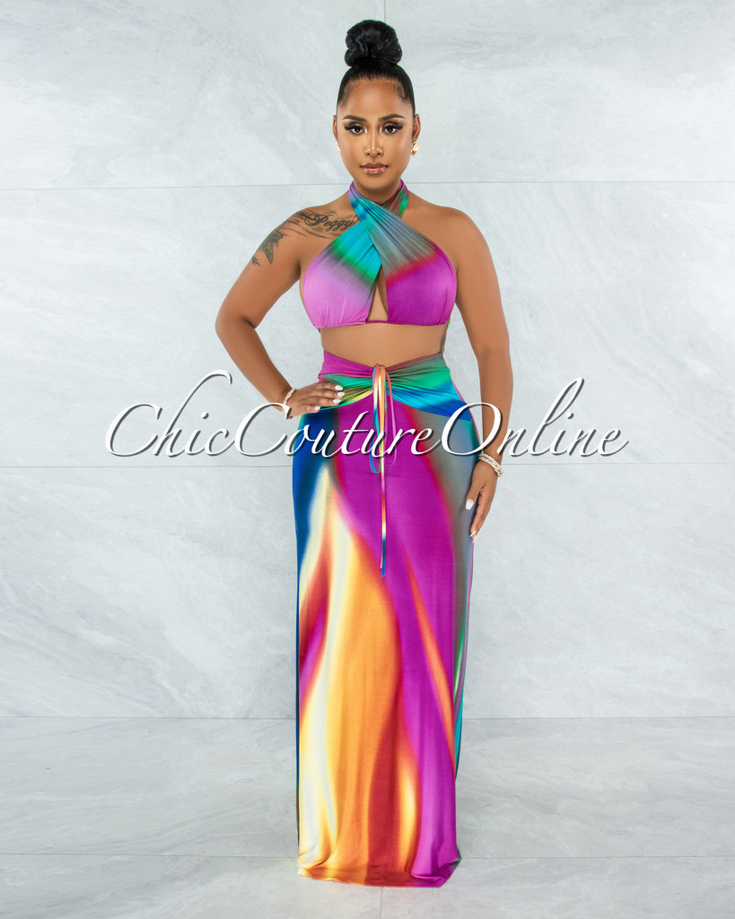 Mehalia Green Multi-Color Ombre Multi-Way Top & Maxi Skirt Set