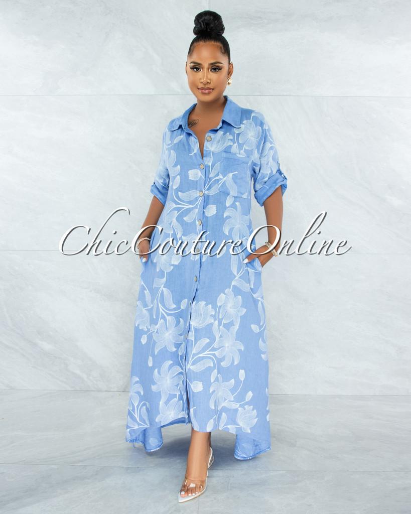 Evans Periwinkle Blue White Floral Print Shirt LINEN Maxi Dress