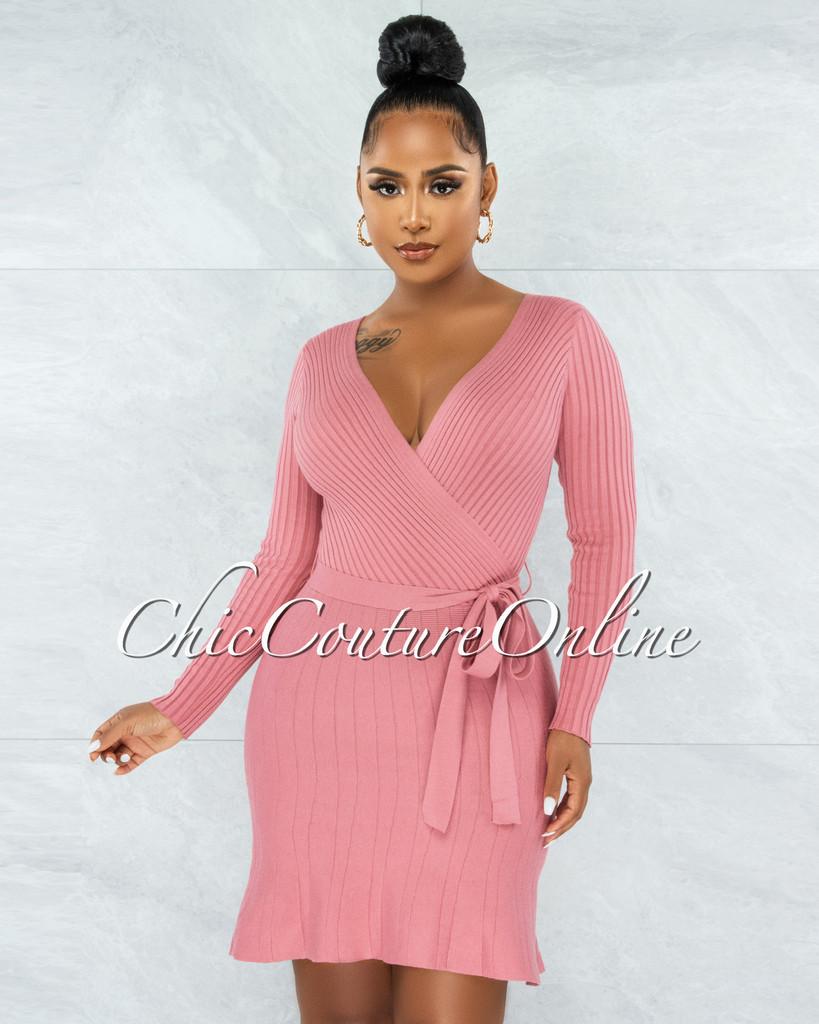 Idriya Pink Ribbed Wrap Top Knit Flare Bottom Dress