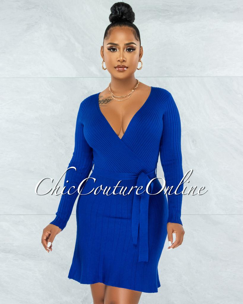 Idriya Royal Blue Ribbed Wrap Top Knit Flare Bottom Dress