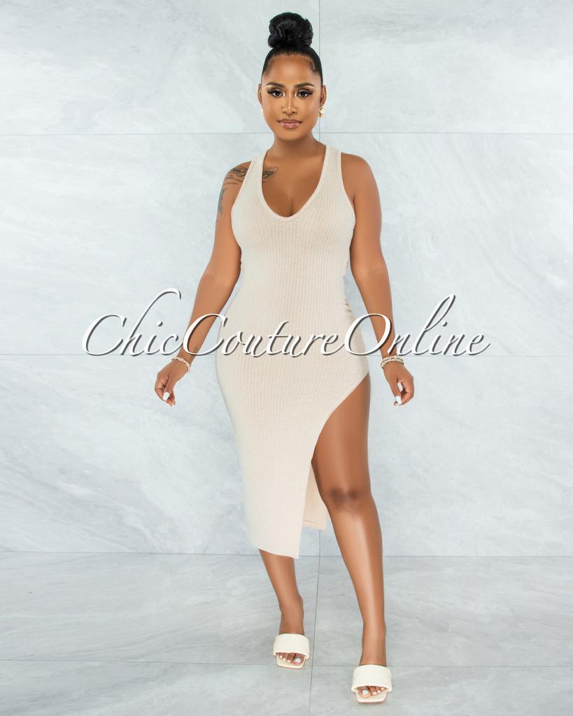 Zarifa Nude Ribbed Side Slit Back Key-Hole Midi Dress