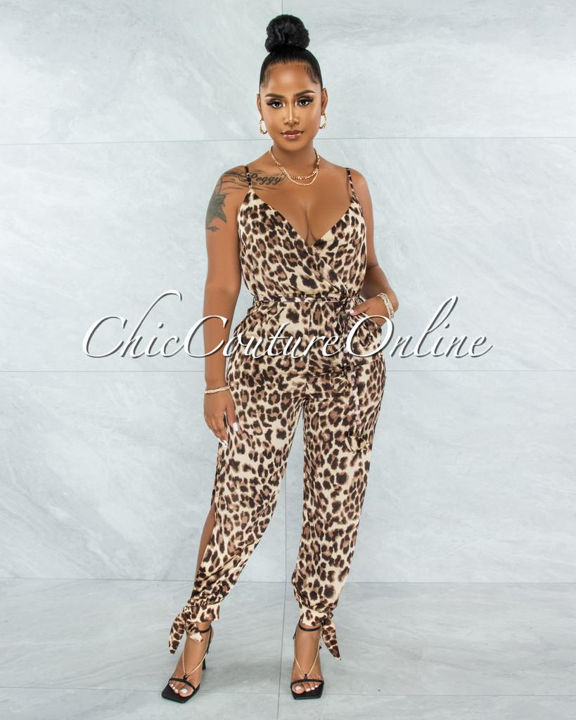 Satika Brown Leopard Print Slit Legs Satin Jumpsuit