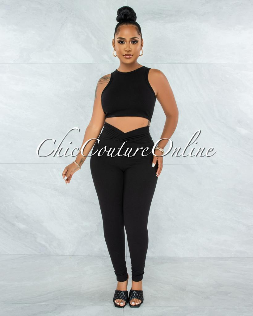 Lavesh Black Crop Top & Leggings Ribbed Set
