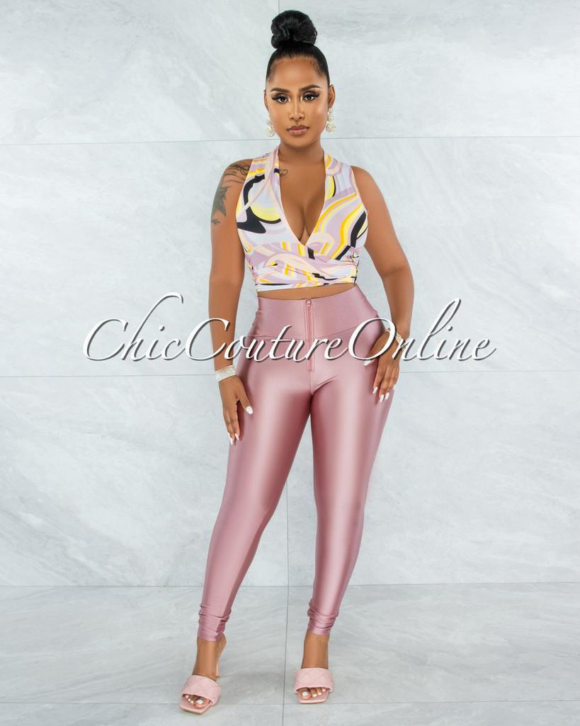 Infinity Black Pink Print Tie Top & Pink Leggings Set