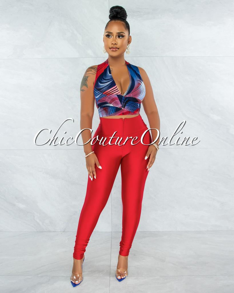 Phoenix Red Blue Print Tie Top & Red Leggings Set