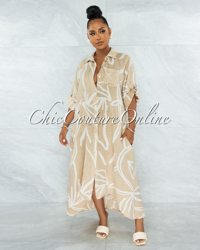 Gilliam Nude White Sequins Pocket LINEN Hi-Lo Maxi Dress