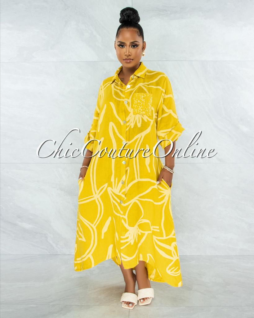 Gilliam Mustard Sequins Pocket LINEN Hi-Lo Maxi Dress