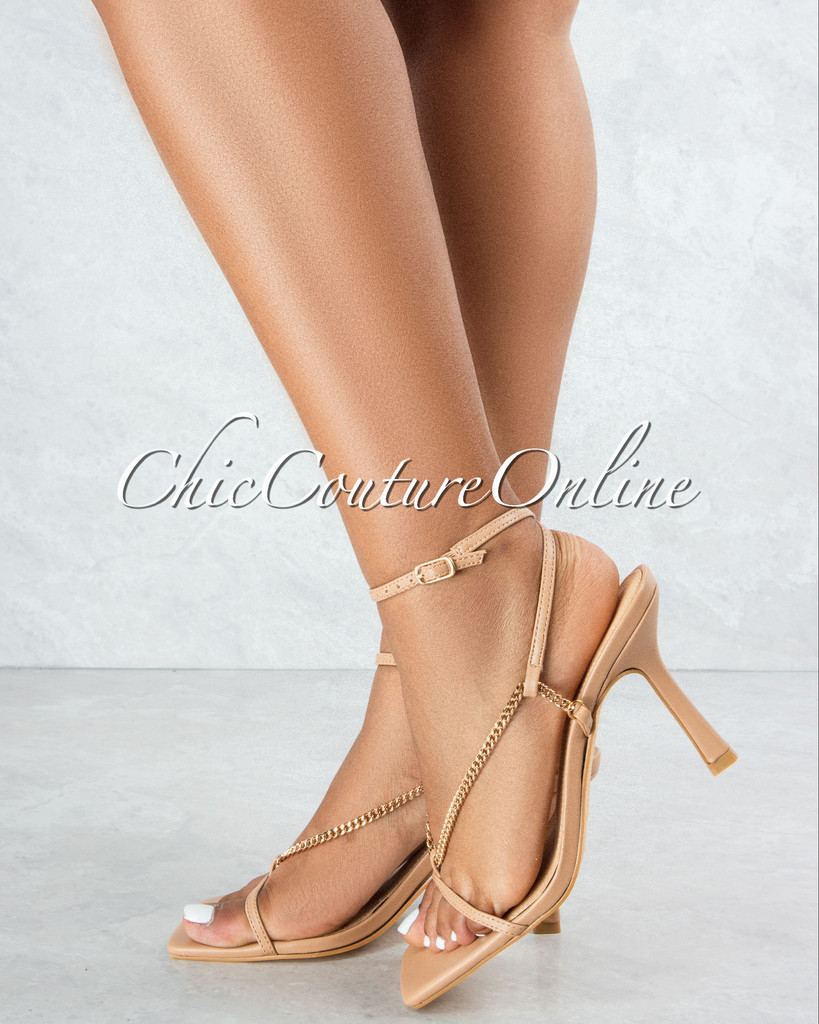 Dreamy Nude Straps Gold Link Ankle Buckle Heel Sandals